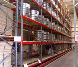 Very Narrow Aisle Pallet Racks ensures Pallets are accessed using specialist Trucks by Guide-Rail Systems to avoid damage to the Racking structure
