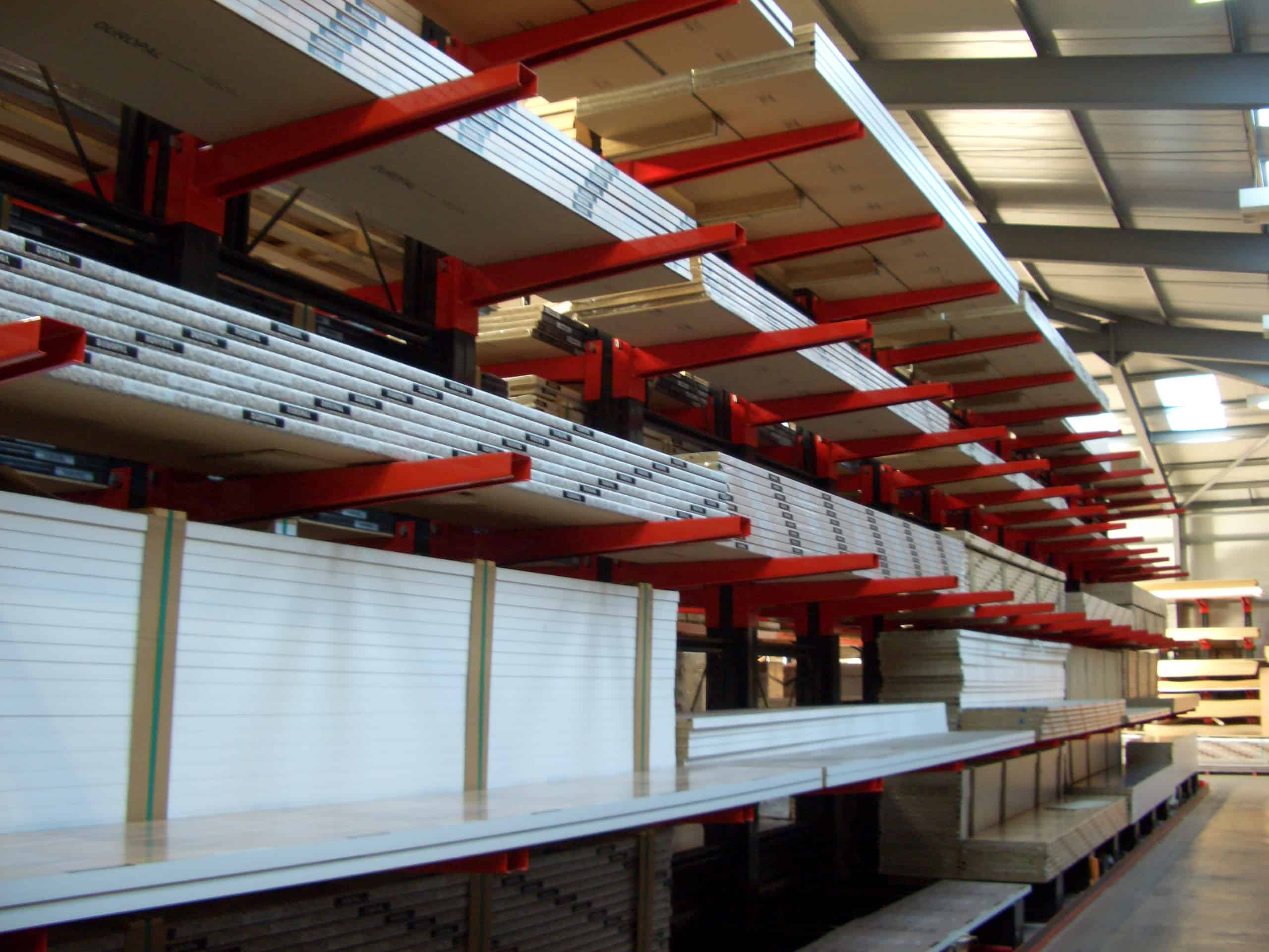 Worktops and Laminates stored on Cantilever Racking