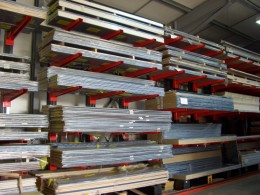 Stakapal Cantilever Racking offers 100% selectivity for Worktop and Laminate storage