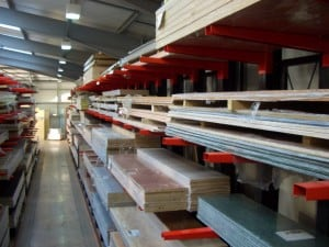 Stakapal Cantilever Racking is the ideal storage and selection solution for Worktops and Laminates for the KBB Industry