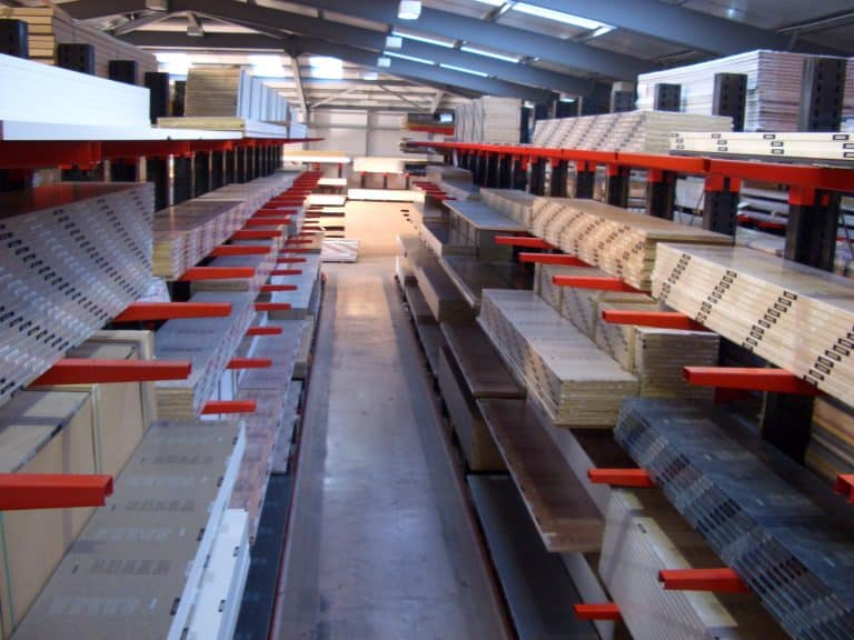 Cantilever Racking is generally utilised by the KBB Industry to store a wide range of Worktops and Laminates
