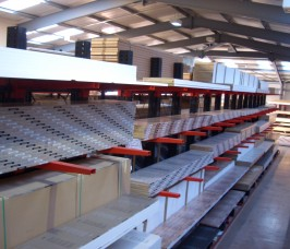 Laminates can be stored at high levels on Cantilever Racking maximising available warehouse area