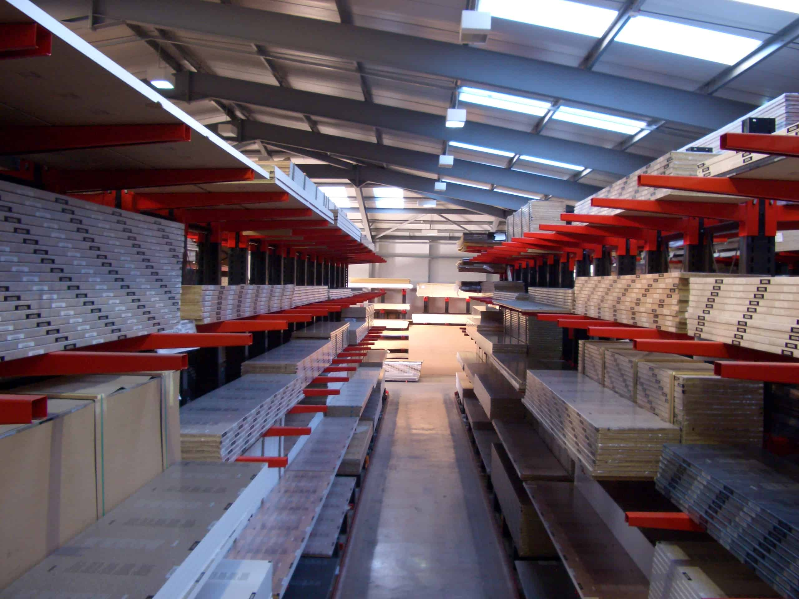 cantilever racking for packaged goods