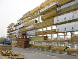 Timber Merchants storing Timber externally traditionally use Galvanised External Cantilever Racking systems