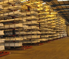 PVCu Extrusions for the Window Industry stored on High Bay Cantilever Racks