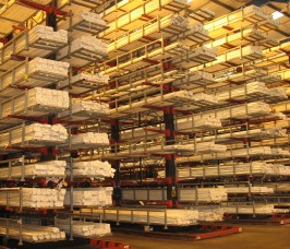 Specialist Trucks operate with Guided Aisle Cantilever Racking for improved storage and selectivity levels