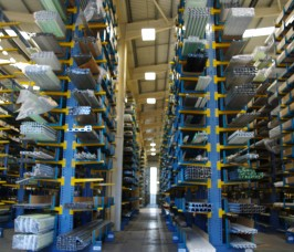 Long lengths of PVCu Extrusions are stored at high levels on Cantilever Racking with fixed End Stops
