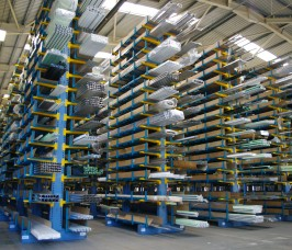 Aluminium Profiles commonly utilised by the Window Industry stored on Stakapal Cantilever Racking