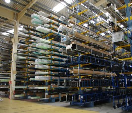 Long lengths of Aluminium Profiles can be stored at height maximising overall storage capacity on Stakapal Cantilever Racking