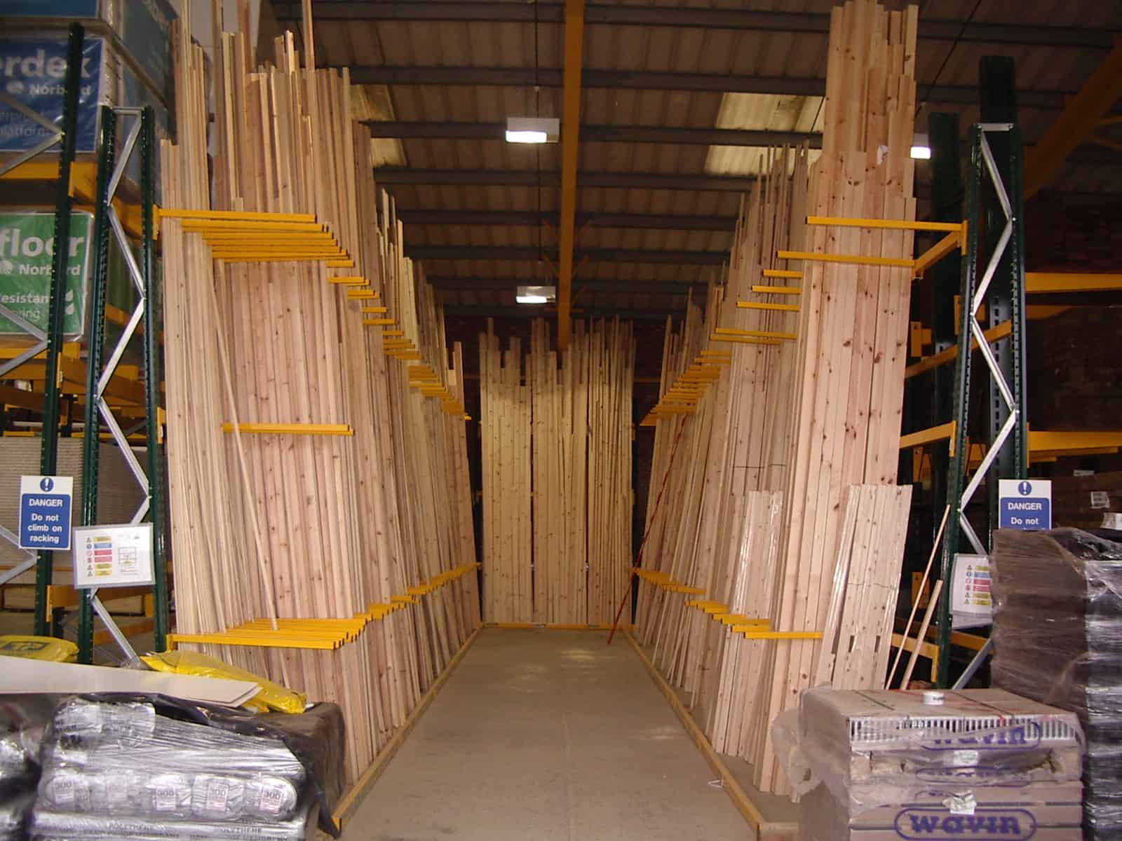 timber store in a frame racking