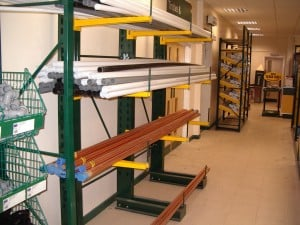 Copper Pipe and Plumbing Products stored on Stakapal Cantilever Racking