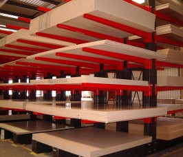 Conventional Cantilever Racking reduces damage to stock profiles of Panel Products