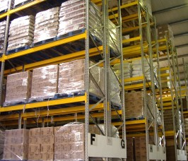Food Products and Ingredients stored on Narrow Aisle Pallet Racking for high storage density