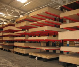 Conventional Cantilever Racks offer 100% selectivity for Panel Products