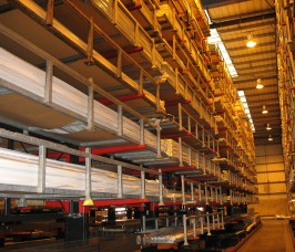 Guided Aisle Cantilever Racking ensures high storage density of long lengths of PVCu