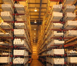 Long lengths of PVCu Profiles stored on Stakapal Cantilever Racking with additional End Stops