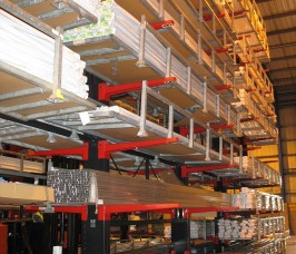Aluminium Profiles stored on Cantilever Racking with additional End stops for retention of unbanded items
