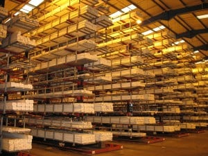 PVCu Extrusions for the Windows Industry stored on Stakapal Cantilever Racking