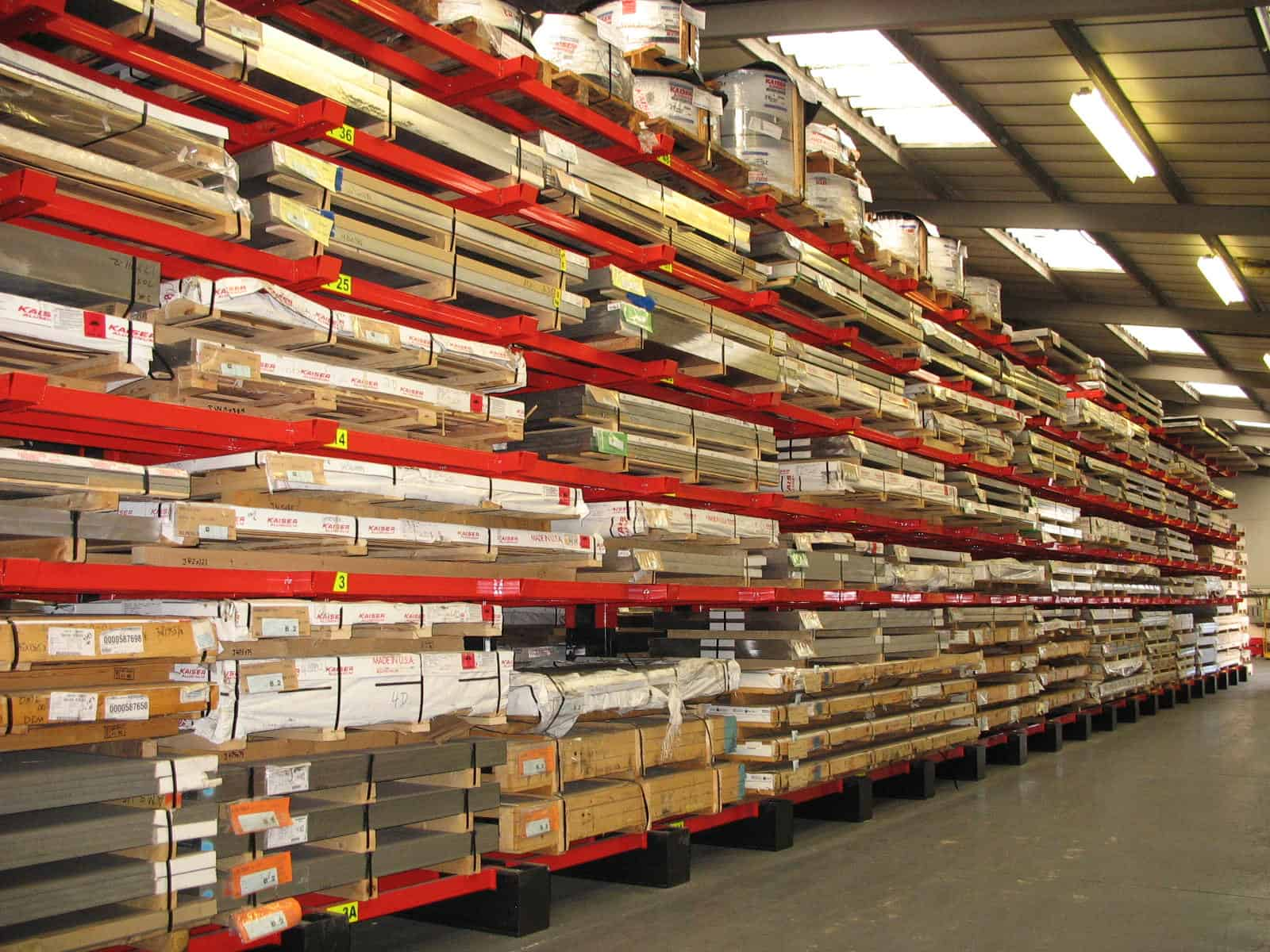 Cantilever Racking with additional Lateral Arm and Base supports for metals sheet materials storage