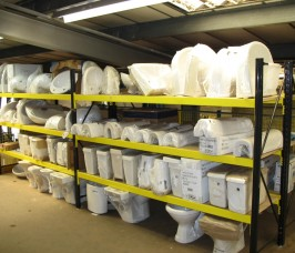 Widespan Shelving has the loading capacity for the storage of a variety of Sanitary Ware products