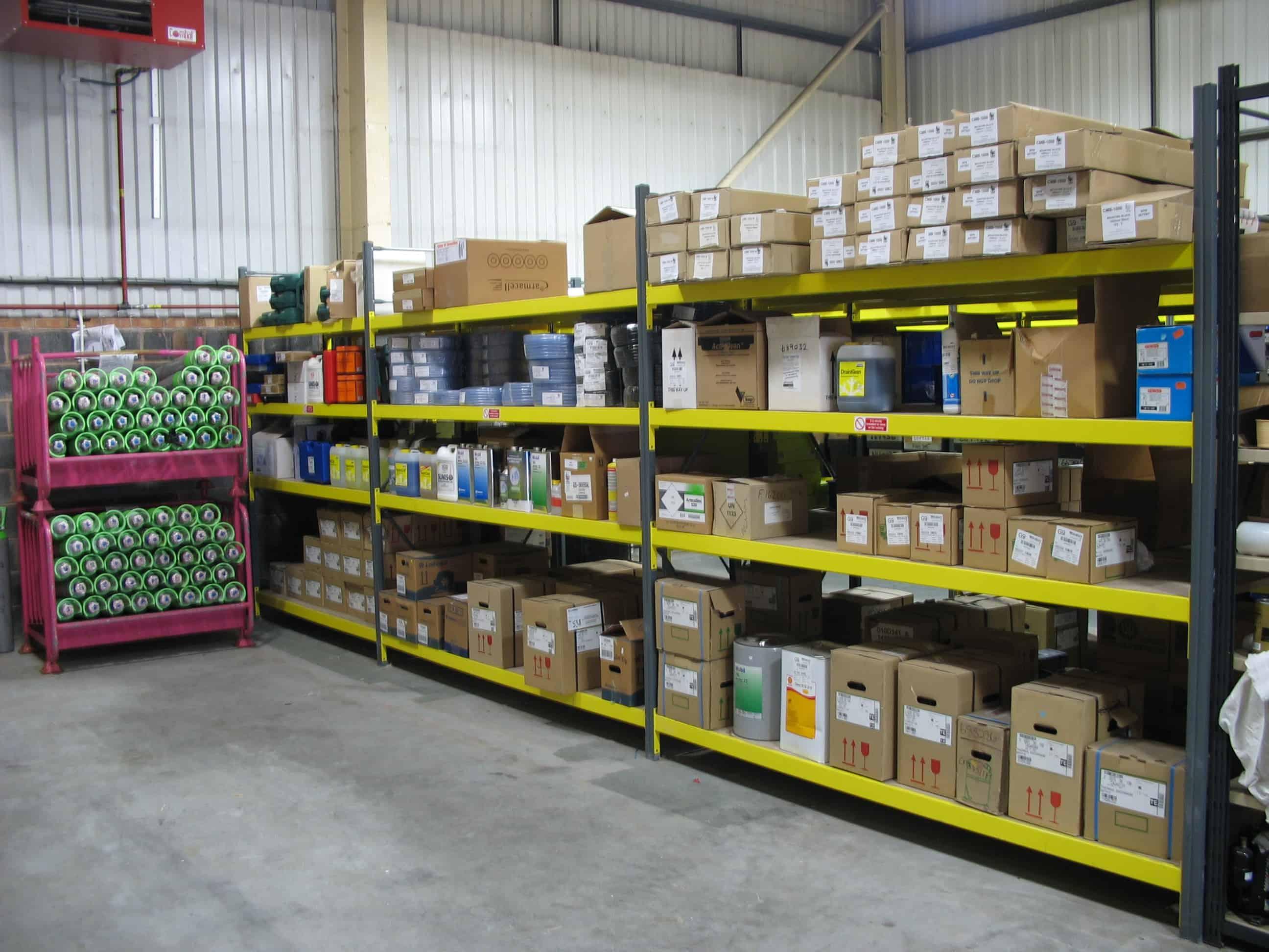 shelving boxed goods