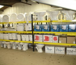 Typical household Sanitary ware stored on Stakapal Widespan Shelving Racking for hand loading and selection
