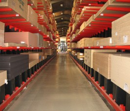 Guided Aisle Cantilever Racking utilises specialist side loading trucks for Panel Products stored at height
