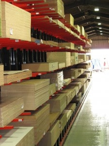 Stakapal manufacture Guided Aisle Cantilever Racking for high density storage of Panel Products