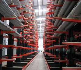Long Lengths of Steel Pipe and Tube stored on Stakapal High Bay Cantilever Racking