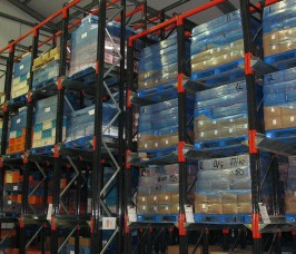 Drive - In Pallet Racking stores Pallets within a block system with two blocks typically serviced by one operating aisle