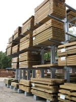 Carcassing Timber is traditionally stored externally on Galvanised Cantilever Racking