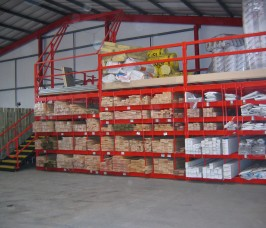 Pigeon Hole Racking in a typical Warehousing environment will often include a raised Storage area above for Insulation Materials