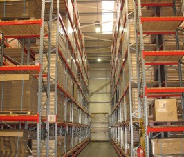Very Narrow Aisle Pallet Racking is either guided by low or high profile floor mounted rails