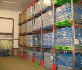 Drive - In Pallet Racking is commonly utilised in cold, chill storage Distribution warehouses