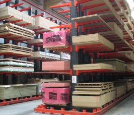 Cantilever Racking configured in a Guided Aisle format offers high density storage cpacity for Panel Products