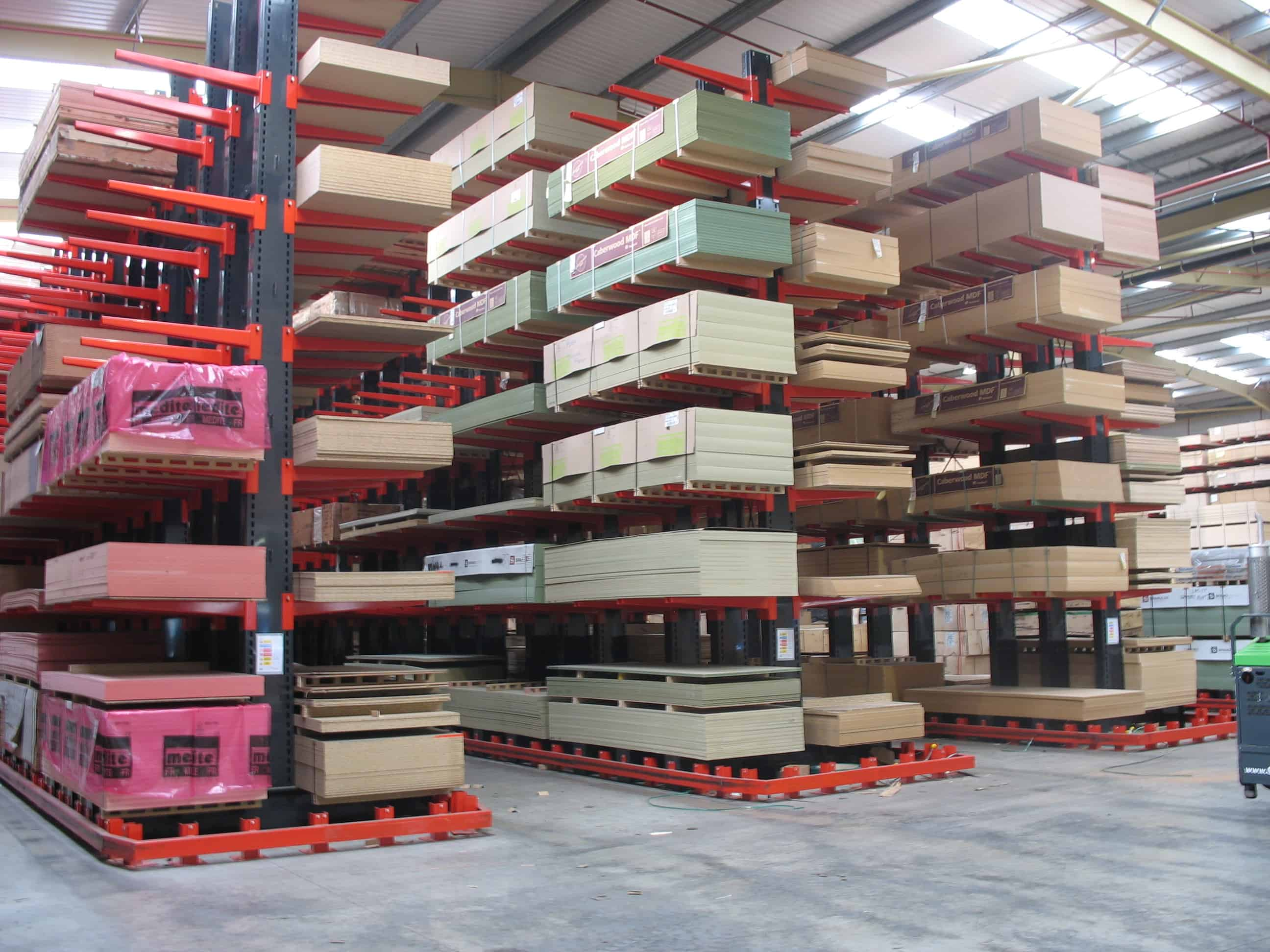 Cantilever Racking in a Guided Aisle format ensures dedicated aisles and gangways