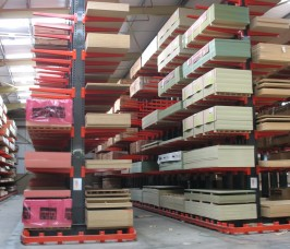 Sheet Materials are commonly stored on Cantilever Racking with a Guide Rail for specialist truck access