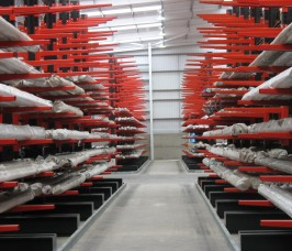 Steel Tube stored on Stakapal Guided Aisle Cantilever Racking