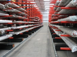 Stakapal Guided Aisle Cantilever Racking maximises the available floor area allocated for Metals storage in your warehouse