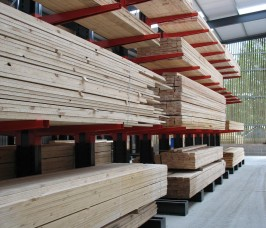 Stakapal Cantilever Racking offers 100% selectivity for a range of Softwood Timber