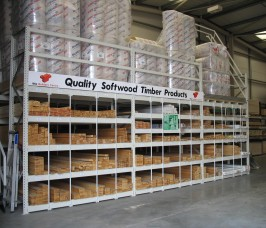 Softwoods can be stored horizontally for ease of selection in Stakapal Pigeon Hole Racks