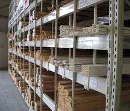 Individual compartments configured in Pigeon Hole Racking ensures a wide range of long lengths of Timber, PVCu Profiles and Plastic Drainage can be stocked