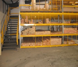 Stakapal manufacture Horizontal Pigeon Hole Racking with the facility of additional raised Storage levels, Staircases and Loading Gates