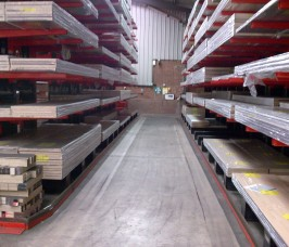 Laminates stored on Stakapal Guided Aisle Cantilever Racking for ease of selection