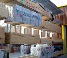 Cantilever Racking with a Canopy Roof offers additional protection for External Carcassing Timber Storage
