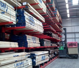 Cantilever Racking in a Guided Aisle format gives improved access to individual Hardwood product lines