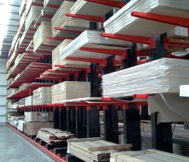 Standard 8ft /10ft Sheet Materials stored on Stakapal Cantilever Racking with Guide Rails ensuring 100% accessibility