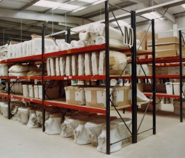 A range of Toilets, Cisterns and Sanitary Ware stored on Stakrak SR500 Widespan Shelving Racks