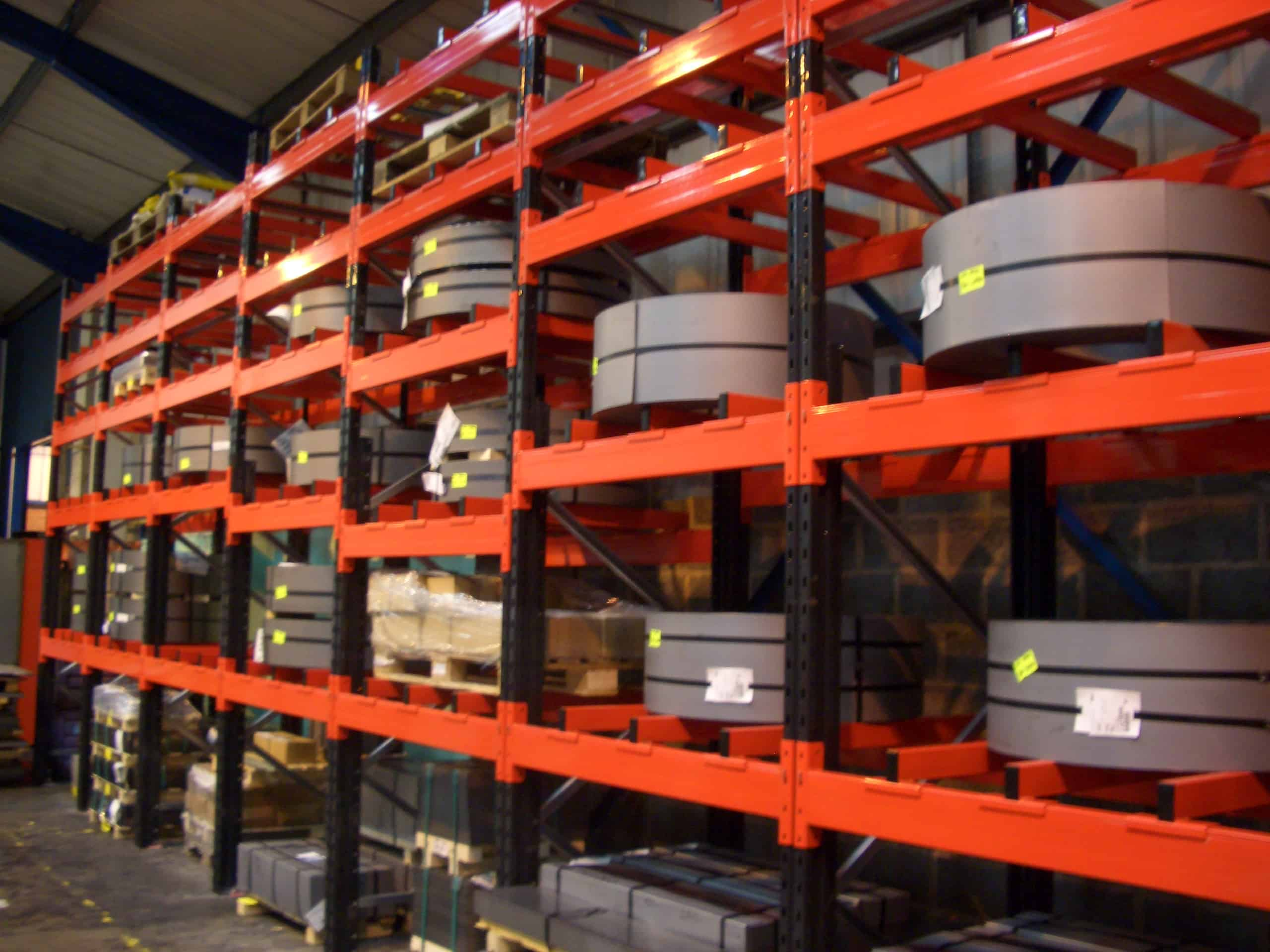 Metal Coil utilised in the manufacturing process stored on Stakrak SR2000 Series Pallet Racking