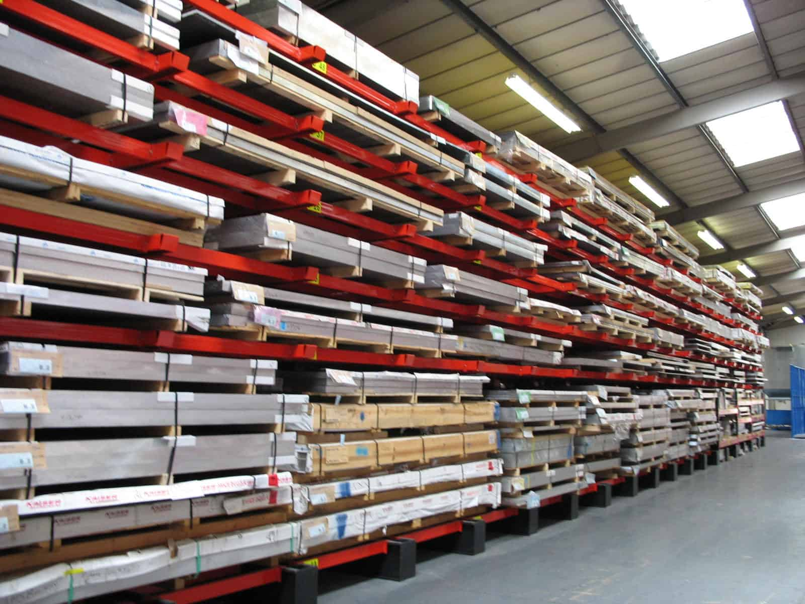 Metal Plate stored on Stakapal Cantilever Racking with additional Rail and Beam supports